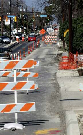 Construction on San Pedro Ave is part of a massive flood-control project under way in Alta Vista/Monte Vista. Photo: Helen L. Montoya, San Antonio Express-News / ©2013 San Antonio Express-News