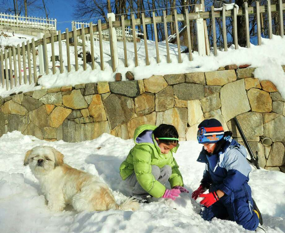 Gisela Macancela, 7, and her brother, Junior, 5, play in the snow as Mario, their dog, keeps watch outside their Danbury home Sunday, Feb. 10, 2013. Photo: Michael Duffy / The News-Times