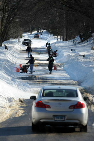 The view looking south down Cutspring Rd., in Stratford, Conn., Feb. 10th, 2013. Photo: Ned Gerard