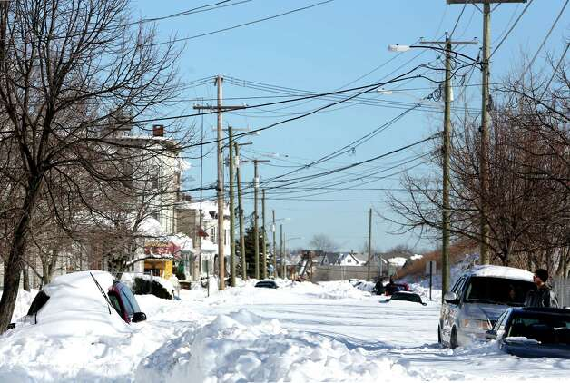 Nichols St on the East Side of Bridgeport, Conn. was still not plowed in the afternoon on Sunday Feb. 1