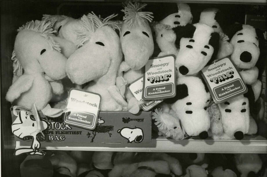 Toy manufacturers say that the focus of their business in 1981 will be on more traditional items, such as Snoopy and Woodstock stuffed dolls displayed at a Houston store.Published February 13, 1981 Photo: Steve Ueckert, Chronicle File