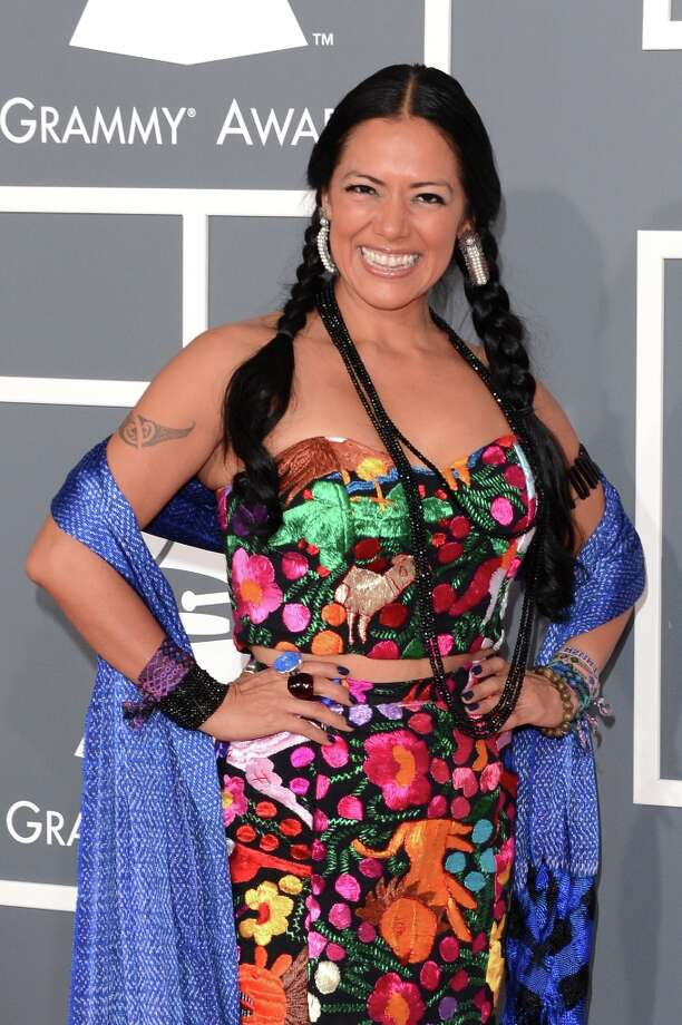 Singer Lila Downs arrives at the 55th Annual GRAMMY Awards at Staples Center on February 10, 2013 in Los Angeles, California. Photo: Jason Merritt, Getty Images / 2013 Getty Images