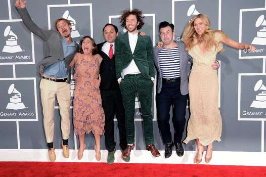 (L-R) Musicians Orpheo McCord, Jade Castrinos, Alex Ebert and Nora Kirkpatrick of Edward Sharpe and the Magnetic Zeros arrive at the 55th Annual GRAMMY Awards at Staples Center on February 10, 2013 in Los Angeles, California. Photo: Jason Merritt, Getty Images / 2013 Getty Images