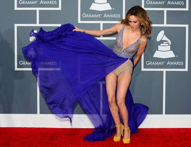 Model Keltie Colleen arrives at the Staples Center for the 55th Grammy Awards in Los Angeles, Califo