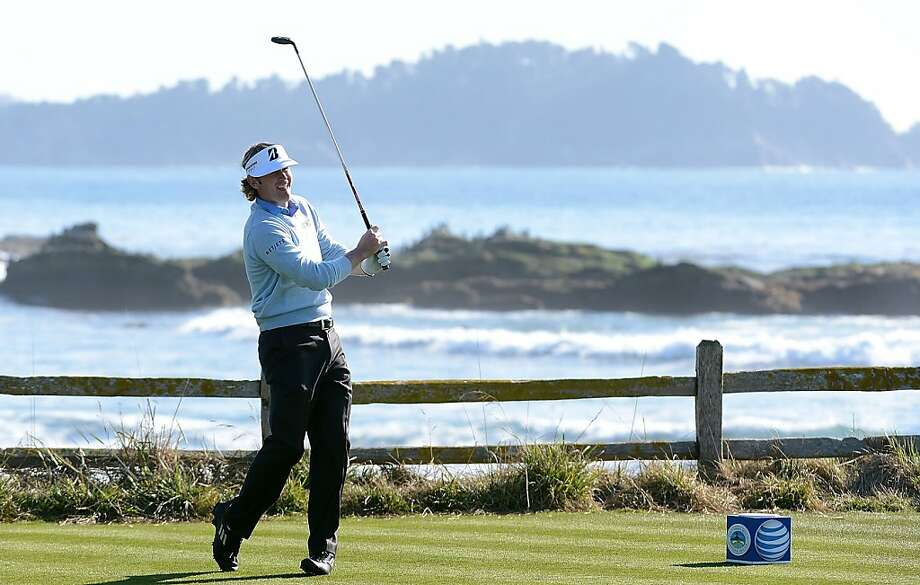 Brandt Snedeker hits his tee shot on the 18th hole during the final round of the AT&T Pebble Beach National Pro-Am at Pebble Beach Golf Links on February 10, 2013 in Pebble Beach, California. Photo: Harry How, Getty Images