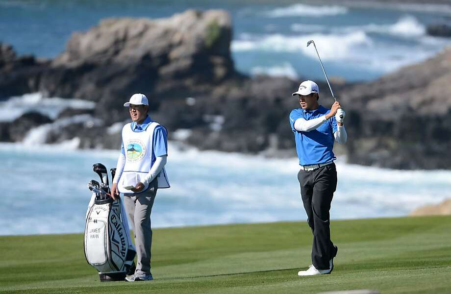 James Hahn of South Korea watches his approach shot on the tenth hole during the final round of the AT&T Pebble Beach National Pro-Am at Pebble Beach Golf Links on February 10, 2013 in Pebble Beach, California. Photo: Harry How, Getty Images