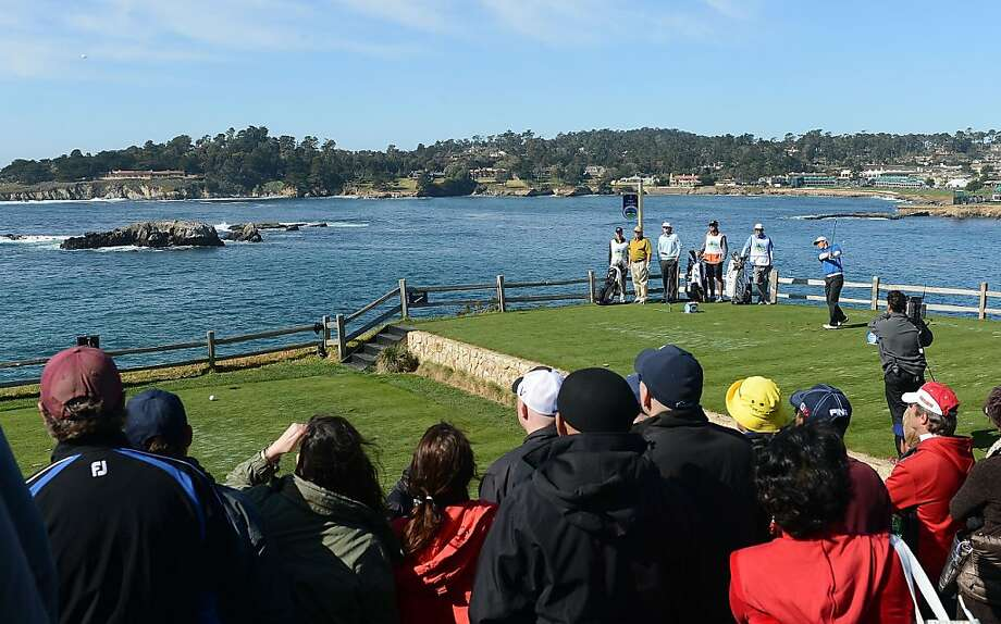 James Hahn of South Korea watches his tee shot on the seventh hole during the final round of the AT&T Pebble Beach National Pro-Am at Pebble Beach Golf Links on February 10, 2013 in Pebble Beach, California. Photo: Harry How, Getty Images