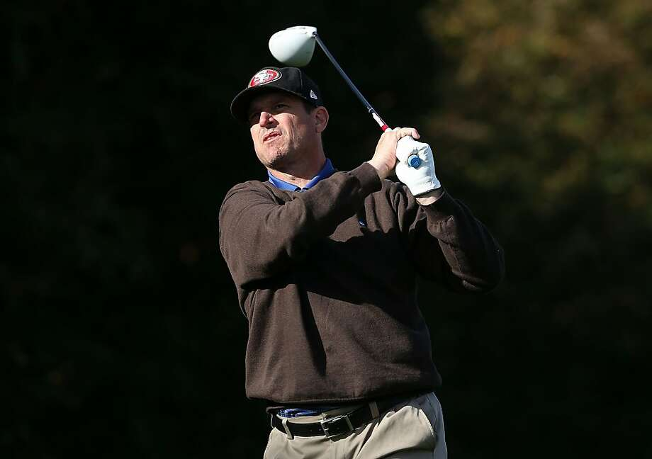 San Francisco 49ers coach Jim Harbaugh watches his tee shot on the second hole during the final round of the AT&T Pebble Beach National Pro-Am at Pebble Beach Golf Links on February 10, 2013 in Pebble Beach, California. Photo: Jeff Gross, Getty Images