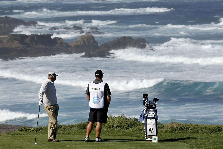Ted Potter, Jr. and his caddie John Balmer admire the view on the fourth hole tee box at Spyglass Hill during the third round of play at the 2013 AT&T Pebble Beach National Pro-Am golf tournament on Saturday Feb. 9, 2013, in Pebble Beach, Ca. Photo: Michael Macor, The Chronicle