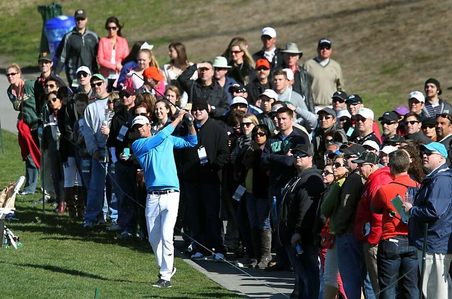 Actor Josh Duhamel hits his second shot on the 6th hole during the third round of the AT&T Pebble Beach National Pro-Am at Pebble Beach Golf Links on February 9, 2013 in Pebble Beach, Calif. Photo: Lance Iversen, The Chronicle