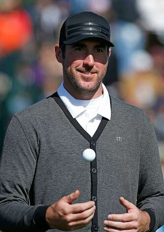 Baseball pitcher Justin Verlander waits on the 17th tee during the third round of the AT&T Pebble Beach National Pro-Am at Pebble Beach Golf Links on February 9, 2013 in Pebble Beach, California. Photo: Scott Halleran, Getty Images