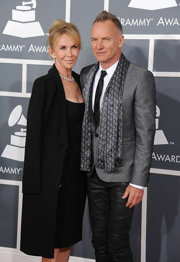 Trudie Styler, left, and Sting arrive at the 55th annual Grammy Awards on Sunday, Feb. 10, 2013, in Los Angeles.  (Photo by Jordan Strauss/Invision/AP) Photo: Jordan Strauss, Associated Press