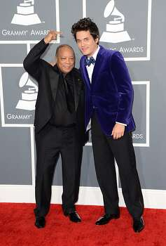LOS ANGELES, CA - FEBRUARY 10:  Producer Quincy Jones (L) and musician John Mayer arrive at the 55th Annual GRAMMY Awards at Staples Center on February 10, 2013 in Los Angeles, California.  (Photo by Jason Merritt/Getty Images) Photo: Jason Merritt, Getty Images
