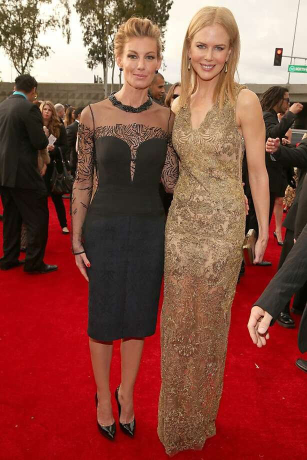 LOS ANGELES, CA - FEBRUARY 10:  Singer Faith Hill (L) and actress Nicole Kidman attend the 55th Annual GRAMMY Awards at STAPLES Center on February 10, 2013 in Los Angeles, California.  (Photo by Christopher Polk/Getty Images for NARAS) Photo: Christopher Polk, Getty Images For NARAS