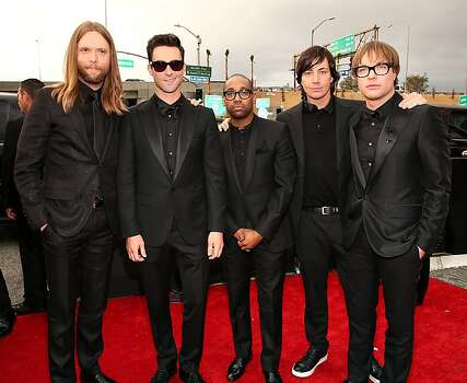 LOS ANGELES, CA - FEBRUARY 10:  Maroon 5 band members James Valentine, Adam Levine, PJ Morton, Matt Flynn and Mickey Madden arrive at the 55th Annual GRAMMY Awards on February 10, 2013 in Los Angeles, California.  (Photo by Christopher Polk/Getty Images for NARAS) Photo: Christopher Polk, Getty Images For NARAS