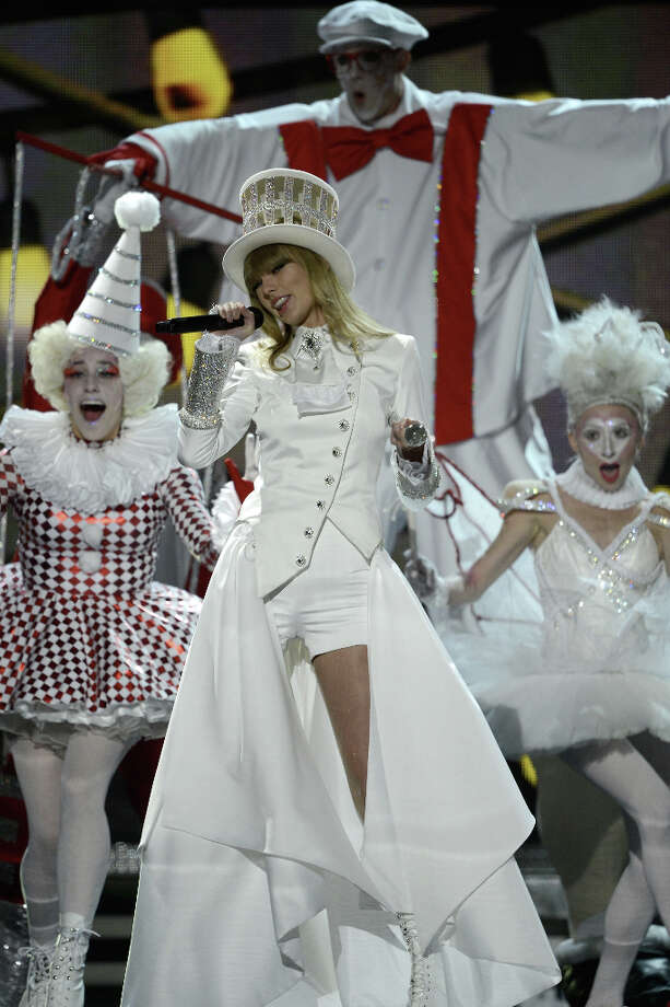 Singer Taylor Swift performs onstage at the 55th Annual GRAMMY Awards at Staples Center on February 10, 2013 in Los Angeles, California. Photo: Kevork Djansezian, Getty Images / 2013 Getty Images