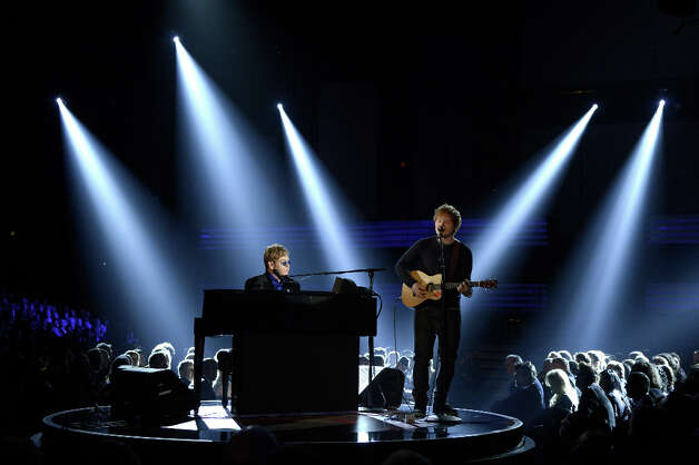 Musicians Elton John (L) and Ed Sheeran perform onstage at the 55th Annual GRAMMY Awards at Staples Center on February 10, 2013 in Los Angeles, California. Photo: Kevork Djansezian, Getty Images / 2013 Getty Images