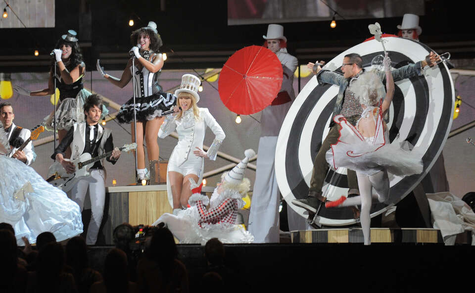 Taylor Swift performs on stage at the Staples Center during the 55th Grammy Awards in Los Angeles, C