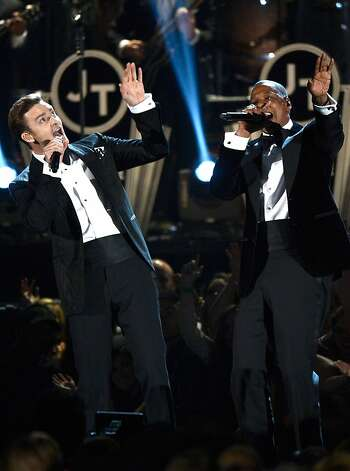 Singer Justin Timberlake (L) and rapper Jay-Z perform onstage at the 55th Annual GRAMMY Awards at Staples Center on February 10, 2013 in Los Angeles, California.   Photo: Kevork Djansezian, Getty Images