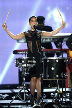 Singer Alicia Keys performs onstage at the 55th Annual GRAMMY Awards at Staples Center on February 10, 2013 in Los Angeles, California. Photo: Kevork Djansezian, Getty Images / 2013 Getty Images