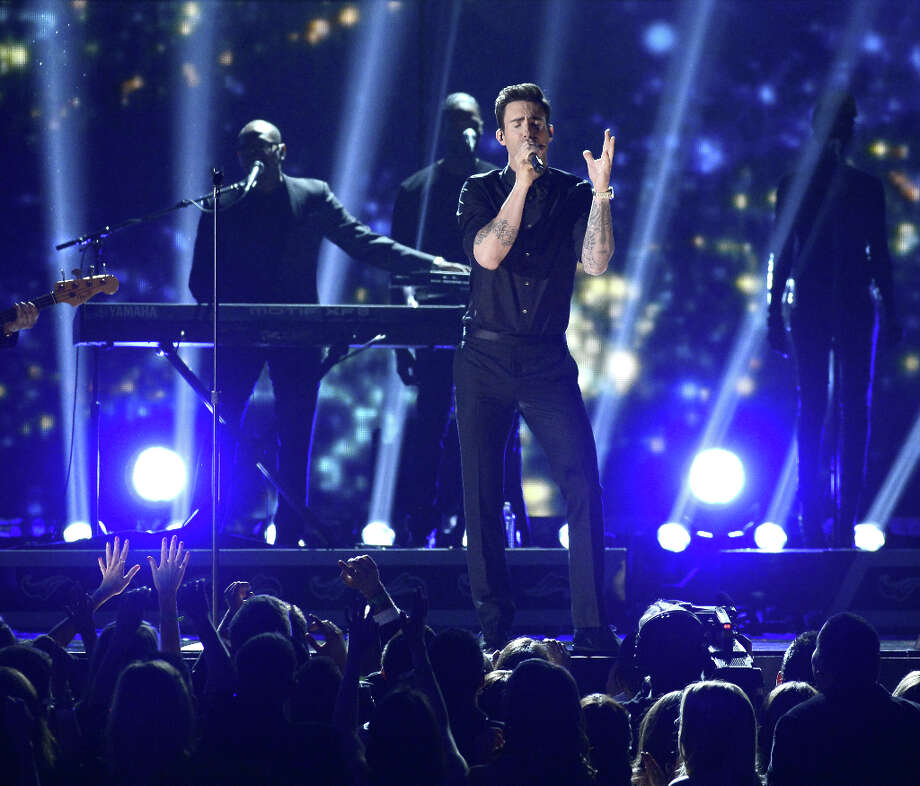 Singer Adam Levine of Maroon 5 performs onstage at the 55th Annual GRAMMY Awards at Staples Center on February 10, 2013 in Los Angeles, California. Photo: Kevork Djansezian, Getty Images / 2013 Getty Images