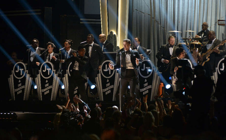 Justin Timberlake performs at the stage at the Staples Center during the 55th Grammy Awards in Los Angeles, California, February 10, 2013. Photo: JOE KLAMAR, AFP/Getty Images / AFP
