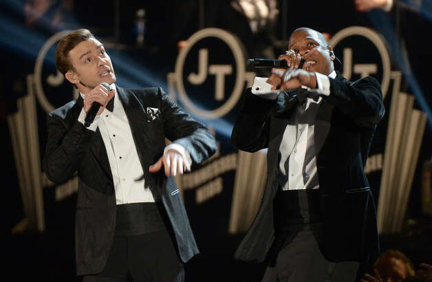 Justin Timberlake and Jay-Z perform at the stage at the Staples Center during the 55th Grammy Awards in Los Angeles, California, February 10, 2013. Photo: JOE KLAMAR, AFP/Getty Images / AFP