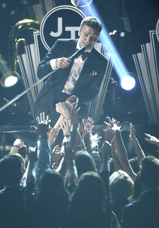 Singer Justin Timberlake performs onstage at the 55th Annual GRAMMY Awards at Staples Center on February 10, 2013 in Los Angeles, California. Photo: Kevork Djansezian, Getty Images / 2013 Getty Images