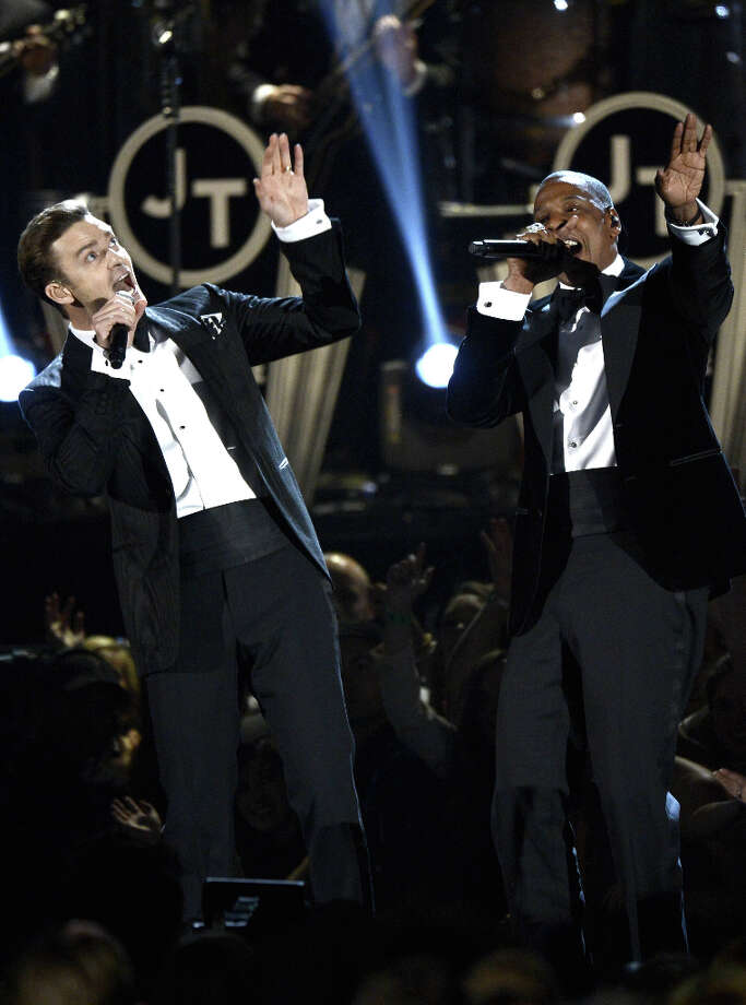 Singer Justin Timberlake (L) and rapper Jay-Z perform onstage at the 55th Annual GRAMMY Awards at Staples Center on February 10, 2013 in Los Angeles, California. Photo: Kevork Djansezian, Getty Images / 2013 Getty Images