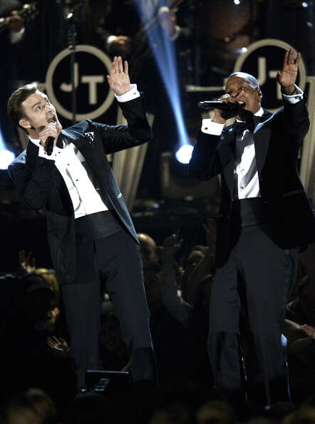 Singer Justin Timberlake (L) and rapper Jay-Z perform onstage at the 55th Annual GRAMMY Awards at St