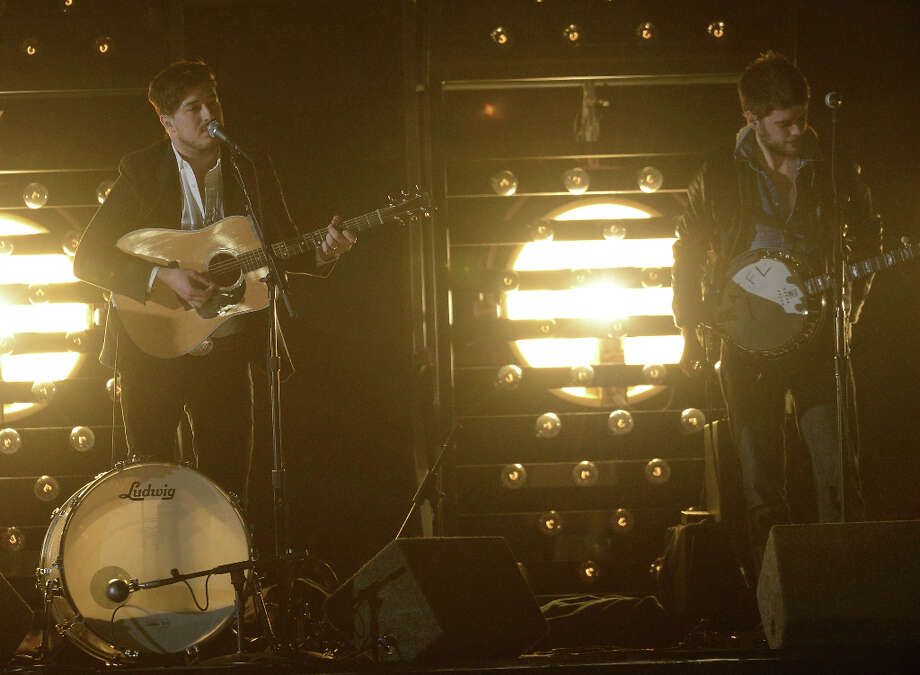 Musicians Marcus Mumford (L-R) and Winston Marshall of Mumford & Sons perform onstage at the 55th Annual GRAMMY Awards at Staples Center on February 10, 2013 in Los Angeles, California. Photo: Kevork Djansezian, Getty Images / 2013 Getty Images