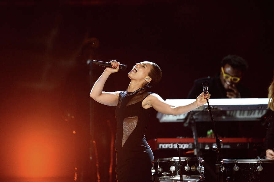 Singer Alicia Keys performs onstage at the 55th Annual GRAMMY Awards at Staples Center on February 1