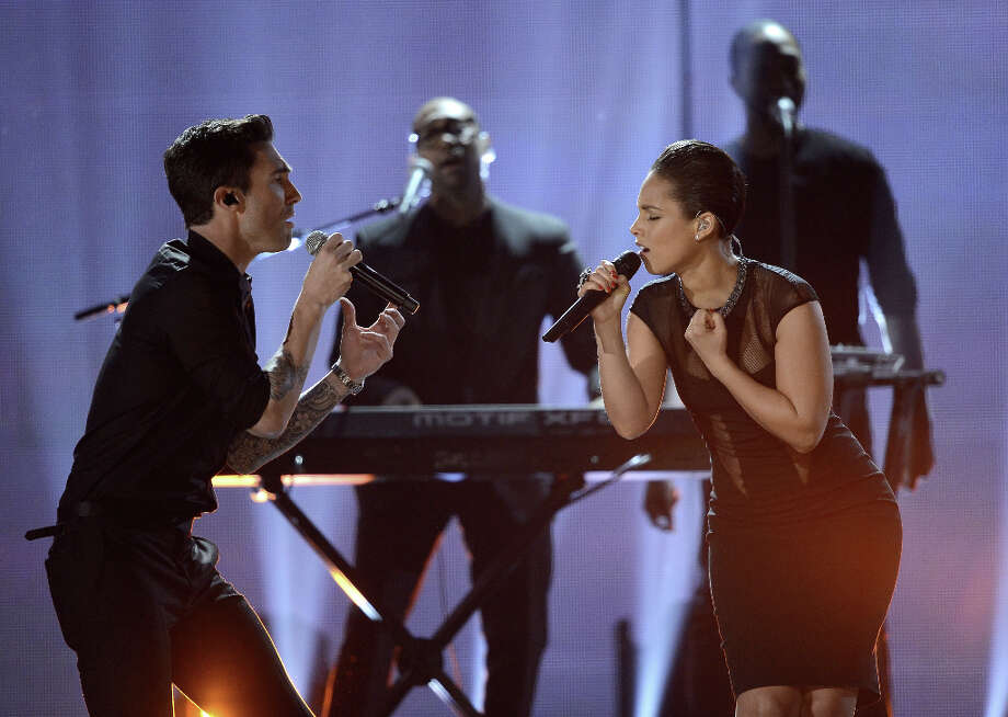Singers Adam Levine (L) and Alicia Keys perform onstage at the 55th Annual GRAMMY Awards at Staples Center on February 10, 2013 in Los Angeles, California. Photo: Kevork Djansezian, Getty Images / 2013 Getty Images