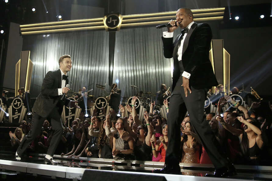 Singer Justin Timberlake (L) and rapper Jay-Z perform onstage during the 55th Annual GRAMMY Awards a
