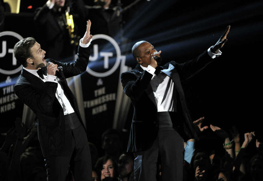 Justin Timberlake, left, and Jay-Z perform on stage at the 55th annual Grammy Awards on Sunday, Feb. 10, 2013, in Los Angeles. Photo: John Shearer, Associated Press / Invision