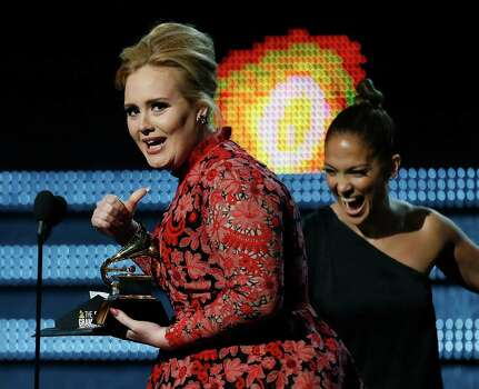 Adele on stage at the 55th Annual Grammy Awards at Staples Center in Los Angeles, California, on Sunday, February 10, 2013. (Robert Gauthier/Los Angeles Times/MCT) Photo: Robert Gauthier, McClatchy-Tribune News Service / Los Angeles Times