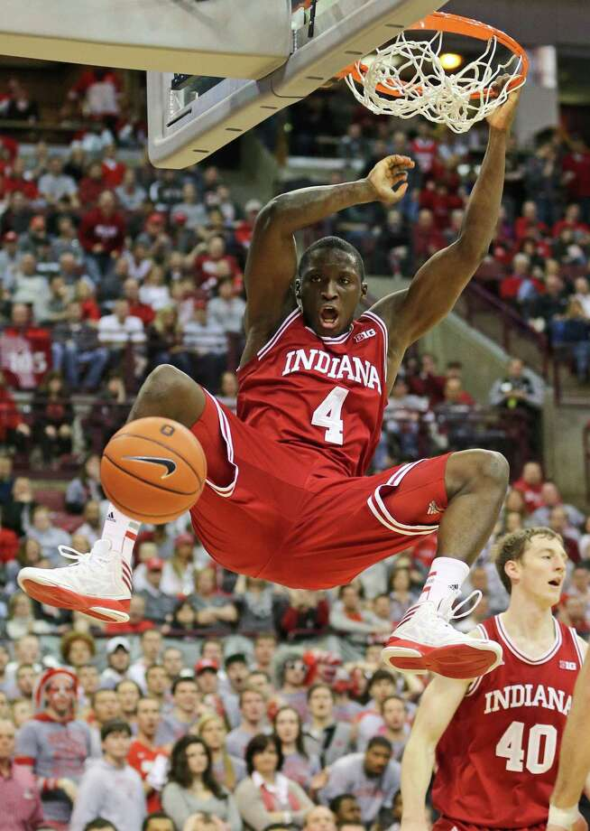 Indiana's Victor Oladipo dunks in two of his career-high 26 points as the Hoosiers beat a top-10 conference foe on the road for the first time since a win in 1993 at Iowa. Photo: Adam Cairns / McClatchy-Tribune News Service