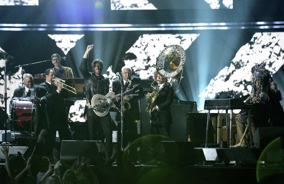 Musicians Dan Auerbach of the Black Keys (L) and Dr. John (R) perform with the Preservation Hall Jazz Band onstage at the 55th Annual GRAMMY Awards at Staples Center on February 10, 2013 in Los Angeles, California. Photo: Kevork Djansezian, Getty Images / 2013 Getty Images