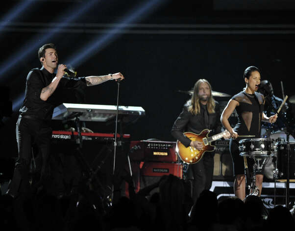 Adam Levin of Maroon 5, left, and Alicia Keys perform at the 55th annual Grammy Awards on Sunday, Feb. 10, 2013, in Los Angeles. Photo: John Shearer, Associated Press / Invision