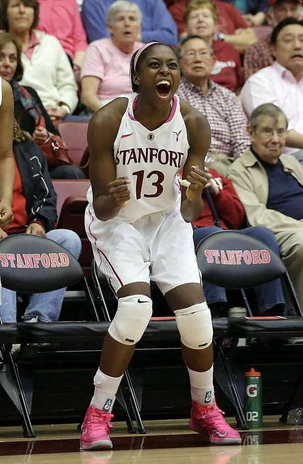 Chiney Ogwumike celebrates near the finish of Stanford's eighth consecutive victory. Photo: Marcio Jose Sanchez, Associated Press
