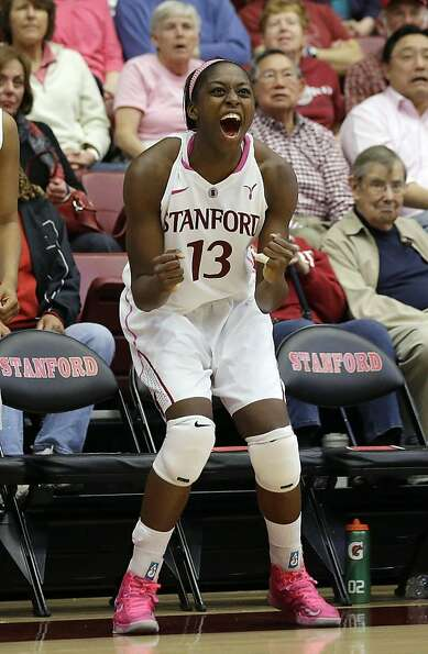Chiney Ogwumike celebrates near the finish of Stanford's eighth consecutive victory.