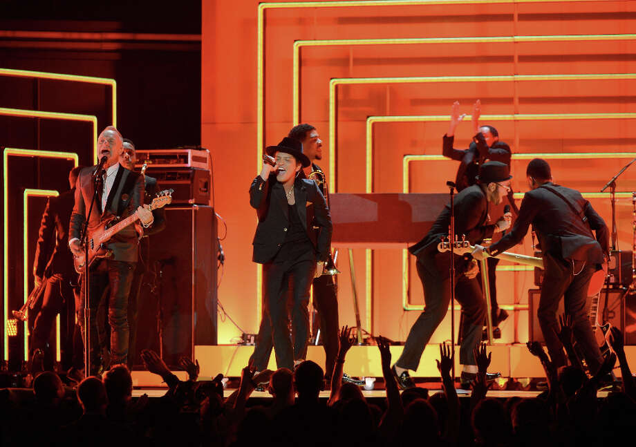 Musicians Sting (L) and Bruno Mars (C) perform onstage at the 55th Annual GRAMMY Awards at Staples Center on February 10, 2013 in Los Angeles, California. Photo: Kevork Djansezian, Getty Images / 2013 Getty Images