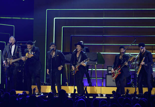 Musicians Sting (far L) and Bruno Mars (C) perform onstage at the 55th Annual GRAMMY Awards at Staples Center on February 10, 2013 in Los Angeles, California. Photo: Kevork Djansezian, Getty Images / 2013 Getty Images