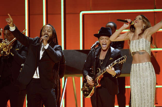 Musicians Ziggy Marley (L-R), Bruno Mars and Rihanna perform onstage at the 55th Annual GRAMMY Awards at Staples Center on February 10, 2013 in Los Angeles, California. Photo: Kevork Djansezian, Getty Images / 2013 Getty Images