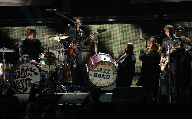 The Black Keys and Dr. John Preservation Hall Jazz Band perform on stage at the Staples Center during the 55th Grammy Awards in Los Angeles, California, February 10, 2013. Photo: JOE KLAMAR, AFP/Getty Images / AFP