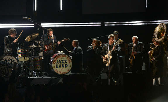The Black Keys with Dr. John Preservation Hall Jazz Band perform on stage at the Staples Center during the 55th Grammy Awards in Los Angeles, California, February 10, 2013. Photo: JOE KLAMAR, AFP/Getty Images / AFP