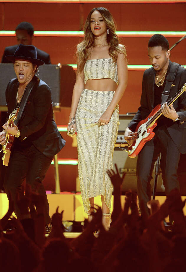 Musicians Bruno Mars (L-R) and Rihanna perform onstage at the 55th Annual GRAMMY Awards at Staples Center on February 10, 2013 in Los Angeles, California. Photo: Kevork Djansezian, Getty Images / 2013 Getty Images