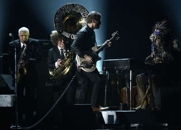Musician Dan Auerbach of the Black Keys (C) performs with the Preservation Hall Jazz Band onstage at the 55th Annual GRAMMY Awards at Staples Center on February 10, 2013 in Los Angeles, California. Photo: Kevork Djansezian, Getty Images / 2013 Getty Images