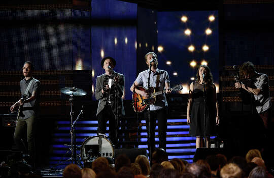 Musicians Stelth Ulvang (L-R), Jeremiah Fraites, Wesley Schultz, Neyla Pekarek and Ben Wahamaki of the Lumineers perform onstage at the 55th Annual GRAMMY Awards at Staples Center on February 10, 2013 in Los Angeles, California. Photo: Kevork Djansezian, Getty Images / 2013 Getty Images