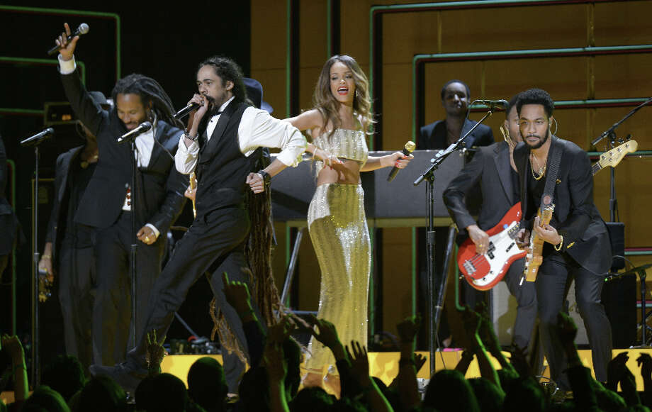 Rihanna, Bruno Mars, Sting, Ziggy and Stephen and Damian Marley perform on stage at the Staples Center during the 55th Grammy Awards in Los Angeles, California, February 10, 2013. Photo: JOE KLAMAR, AFP/Getty Images / AFP